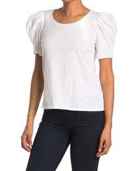 1.STATE Puffed Sleeve Slub Knit Top - White