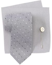 Ben Sherman Nick Stripe Tie, Pocket Square & Lapel Pin Set - Metallic
