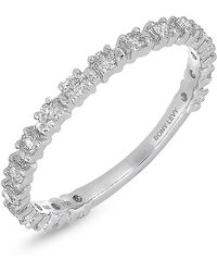 Bony Levy - 18k White Gold Prong Set Diamond Stackable Band - 0.34 Ctw - Lyst