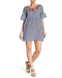 Haute Rogue - Tassel Trim Gingham Bell Sleeve Dress - Lyst