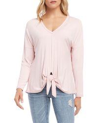 Karen Kane Drop Shoulder Tie Front Top - Pink