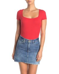 Lush Wide Square Neck Ribbed Bodysuit - Red