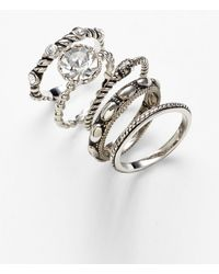 Ariella Collection - Cocktail Stack Ring Set - Set Of 5 - Lyst