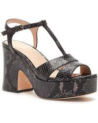 Pour La Victoire - Women's Nolla Open Toe Metallic Snake-embossed Leather Platform Sandals - Lyst
