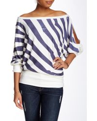 Go Couture - Off-the-shoulder Dolman Print Sweater - Lyst