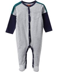 7 For All Mankind Embroidered Pocket Footies (baby Boys) - Gray