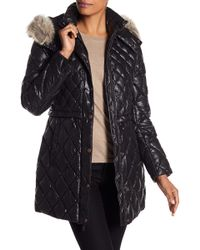 Andrew Marc - Kavi Genuine Coyote Fur Trim Diamond Quilted Jacket - Lyst