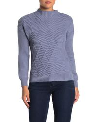 Catherine Malandrino Stitch Detail Chenille Knit Sweater - Blue