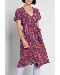 ModCloth Woven Short Sleeve V-neck A-line Midi Dress - Multicolor