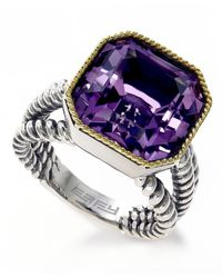 Effy Sterling Silver & 18k Yellow Gold Pink Amethyst Ring - Size 7 - Purple