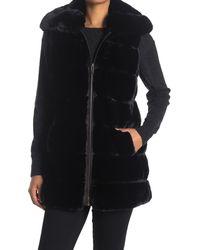 Via Spiga Quilted Faux Fur Vest - Black