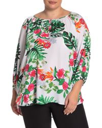 Premise Studio Tropical Patterned Blouse (plus Size) - Green