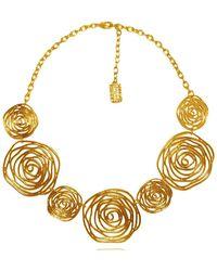 Karine Sultan 24k Gold Plated Swirled Rose Statement Necklace - Metallic
