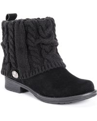 Lyst Charlotte Russe Sweater Cuffed Combat Booties In Black