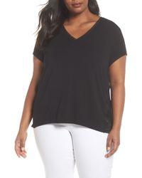 Sejour Mixed Media V-neck Top (plus Size) - Black