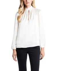 1.STATE - 1. State Keyhole Charmeuse Blouse - Lyst