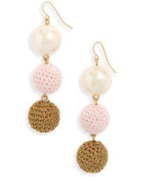 J.Crew - J.crew Crochet Ball And Imitation Pearl Drop Earrings - Lyst