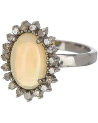 Adornia - Sterling Silver Opal & Diamond Geneva Ring - Lyst