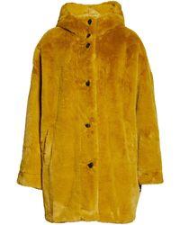 UGG Nori Oversized Faux Fur Coat - Yellow