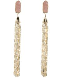 Carolee Gold Plated Rose Quartz Tassel Earrings - Metallic