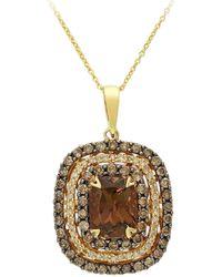 Effy 14k Yellow Gold Smoky Quartz & Brown Diamond Pendant Necklace