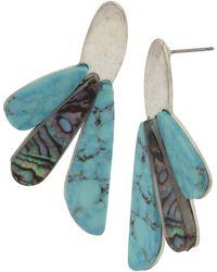Robert Lee Morris - Turquoise & Abalone Fan Drop Earrings - Lyst