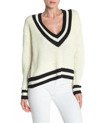 Bishop + Young Varsity V-neck Pullover Sweater - White