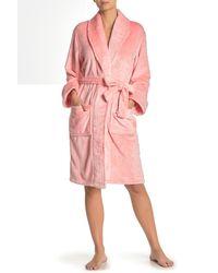Daniel Buchler Plaid Textured Faux Fur Robe - Pink