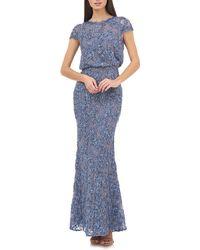 JS Collections Blouson Lace Gown - Blue