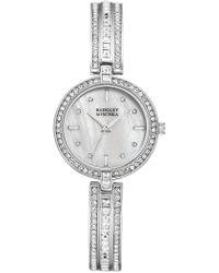 Badgley Mischka Women's Swarovski Crystal Accented Analog Bracelet Watch, 28mm - Metallic