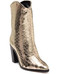 Schutz Vonna Croc Embossed Leather Boot - Metallic