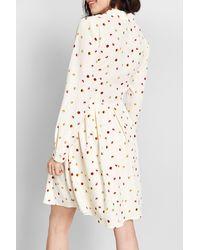 ModCloth Pleasant Confidence Long Sleeve Dress - White