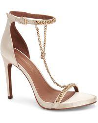 BCBGMAXAZRIA Ella Chain Satin Stiletto Sandal - White