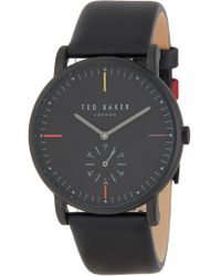 Ted Baker - Men's Nolan Subeye Leather Strap Watch, 42mm - Lyst