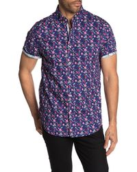 Report Collection - Short Sleeve Floral Print Slim Fit Shirt - Lyst