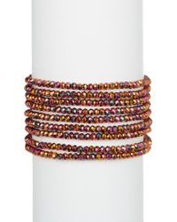 Panacea - Crystal Linked 9 Row Stretch Bracelet - Lyst