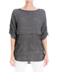Max Studio Striped Ruched Elbow Sleeve Textured Top - Multicolor