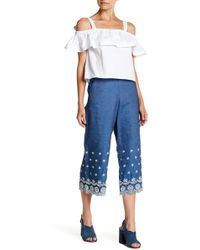 English Factory - Denim Embroidered Wide Pant - Lyst