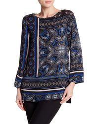Chaus - Bell Sleeve Tile Keyhole Blouse - Lyst