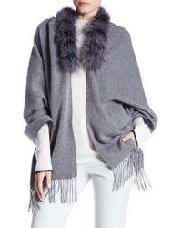 Surell - Genuine Fox Fur Trim Fringe Shawl - Lyst
