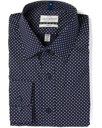 Lucky Brand Printed Shamrock Slim Fit Dress Shirt - Blue