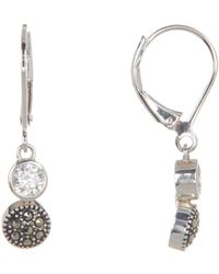 Judith Jack - Antique Sterling Silver Cz & Marcasite Stone Drop Earrings - Lyst