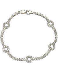"Suzy Levian Pave Cubic Zirconia Sterling Silver 7.25"""""""" Floral Tennis Bracelet - White"