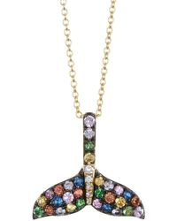 Effy 14k Yellow Gold Diamond & Multi-color Gemstone Whale Tail Pendant Necklace - Green