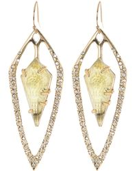 Alexis Bittar Yellow Gold Plated Pave Crystal Stone Inset Teardrop Earrings In Gold/pyrite At Nordstrom Rack - Metallic
