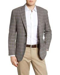 Hart Schaffner Marx Classic Fit Plaid Wool Sport Coat - Brown