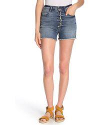 GOOD AMERICAN The Cut Off Denim Shorts - Blue
