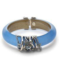 Alexis Bittar Lucite & Bamboo Hardware Hinged Bracelet - Blue