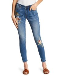Miss Me - Embroidered Design Skinny Jeans - Lyst