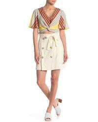 June & Hudson Button Front Linen Blend Skirt - White